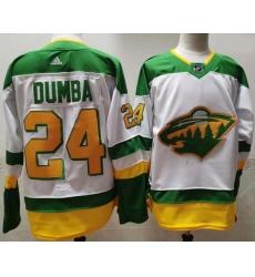 Men Minnesota Wild 24 Matt Dumba White 2020 21 Reverse Retro Adidas Jersey