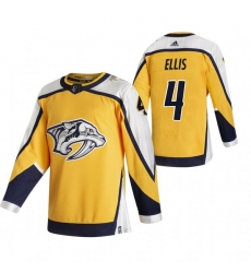 Men Nashville Predators 4 Ryan Ellis Yellow Adidas 2020 21 Reverse Retro Alternate NHL Jersey