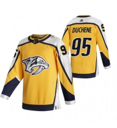 Men Nashville Predators 95 Matt Duchene Yellow Adidas 2020 21 Reverse Retro Alternate NHL Jersey