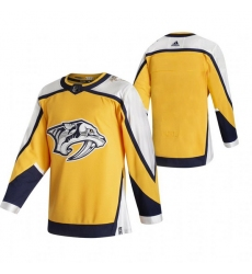 Men Nashville Predators Blank Yellow Adidas 2020 21 Reverse Retro Alternate NHL Jersey