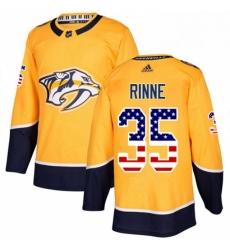 Mens Adidas Nashville Predators 35 Pekka Rinne Authentic Gold USA Flag Fashion NHL Jersey