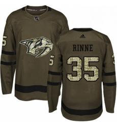 Mens Adidas Nashville Predators 35 Pekka Rinne Authentic Green Salute to Service NHL Jersey