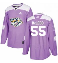 Mens Adidas Nashville Predators 55 Cody McLeod Authentic Purple Fights Cancer Practice NHL Jersey