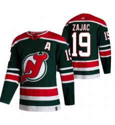 Men New Jersey Devils 19 Travis Zajac Green Adidas 2020 21 Reverse Retro Alternate NHL Jersey