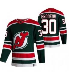 Men New Jersey Devils 30 Martin Brodeur Green Adidas 2020 21 Reverse Retro Alternate NHL Jersey