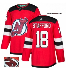Mens Adidas New Jersey Devils 18 Drew Stafford Authentic Red Fashion Gold NHL Jersey