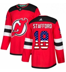 Mens Adidas New Jersey Devils 18 Drew Stafford Authentic Red USA Flag Fashion NHL Jersey