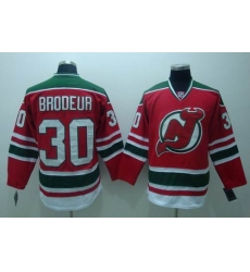 New Jersey Devils #30 Brodeur Red green 3RD Hockey Jersey