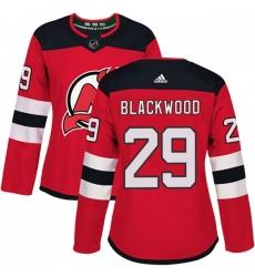Women New Jersey Devils Mackenzie Blackwood Red Home Adidas Jersey