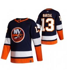 Men New York Islanders 13 Mathew Barzal Navy Blue Adidas 2020 21 Reverse Retro Alternate NHL Jersey
