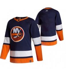 Men New York Islanders Blank Navy Blue Adidas 2020 21 Reverse Retro Alternate NHL Jersey