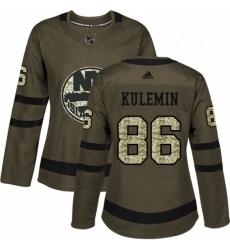 Womens Adidas New York Islanders 86 Nikolay Kulemin Authentic Green Salute to Service NHL Jersey