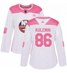 Womens Adidas New York Islanders 86 Nikolay Kulemin Authentic WhitePink Fashion NHL Jersey
