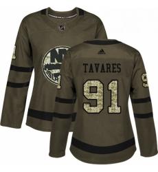 Womens Adidas New York Islanders 91 John Tavares Authentic Green Salute to Service NHL Jersey