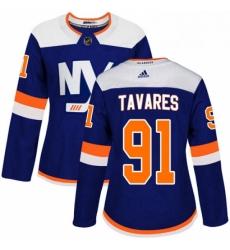 Womens Adidas New York Islanders 91 John Tavares Premier Blue Alternate NHL Jersey
