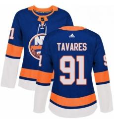 Womens Adidas New York Islanders 91 John Tavares Premier Royal Blue Home NHL Jersey
