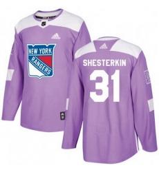 Men Adidas New York Rangers 31 Igor Shesterkin Purple Fights Cancer Practice NHL Jersey