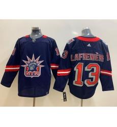 Men New York Rangers 13 Alexis Lafreniere Navy 2020 21 Reverse Retro Adidas Jersey