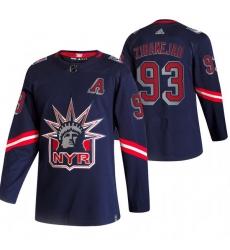Men New York Rangers 93 Mika Zibanejad Navy Adidas 2020 21 Reverse Retro Alternate NHL Jersey