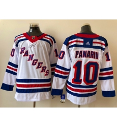 Men New York Rangers Artemi Panarin 10 White Adidas 2020 21 Reverse Retro Alternate NHL Jersey