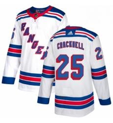 Mens Adidas New York Rangers 25 Adam Cracknell Authentic White Away NHL Jersey