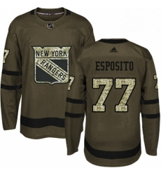 Mens Adidas New York Rangers 77 Phil Esposito Authentic Green Salute to Service NHL Jersey