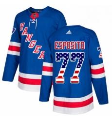 Mens Adidas New York Rangers 77 Phil Esposito Authentic Royal Blue USA Flag Fashion NHL Jersey