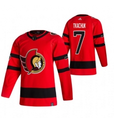 Men Ottawa Senators 7 Brady Tkachuk Red Adidas 2020 21 Reverse Retro Alternate NHL Jersey