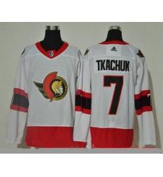 Men Ottawa Senators 7 Brady Tkachuk White Adidas 2020 21 Stitched NHL Jersey