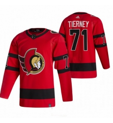 Men Ottawa Senators 71 Chris Tierney Red Adidas 2020 21 Reverse Retro Alternate NHL Jersey