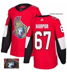 Mens Adidas Ottawa Senators 67 Ben Harpur Authentic Red Fashion Gold NHL Jersey
