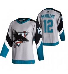 Men San Jose Sharks 12 Patrick Marleau Grey Adidas 2020 21 Reverse Retro Alternate NHL Jersey