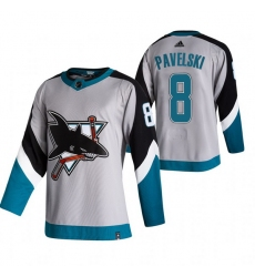 Men San Jose Sharks 8 Joe Pavelski Grey Adidas 2020 21 Reverse Retro Alternate NHL Jersey