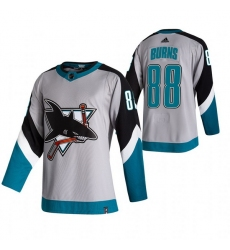 Men San Jose Sharks 88 Brent Burns Grey Adidas 2020 21 Reverse Retro Alternate NHL Jersey