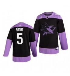 Sharks 5 Dalton Prout Black Purple Hockey Fights Cancer Adidas Jersey