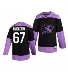 Sharks 67 Jacob Middleton Black Purple Hockey Fights Cancer Adidas Jersey
