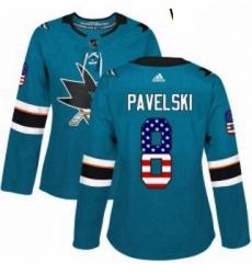 Womens Adidas San Jose Sharks 8 Joe Pavelski Authentic Teal Green USA Flag Fashion NHL Jersey