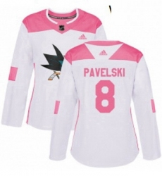 Womens Adidas San Jose Sharks 8 Joe Pavelski Authentic WhitePink Fashion NHL Jersey