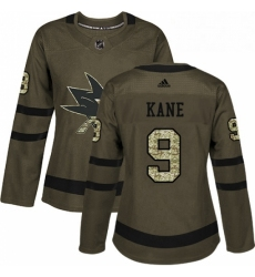 Womens Adidas San Jose Sharks 9 Evander Kane Authentic Green Salute to Service NHL Jersey