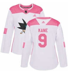 Womens Adidas San Jose Sharks 9 Evander Kane Authentic White Pink Fashion NHL Jersey
