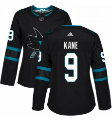 Womens Adidas San Jose Sharks 9 Evander Kane Premier Black Alternate NHL Jersey