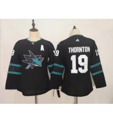 Youth Sharks 19 Joe Thornton Black Youth Adidas Jersey