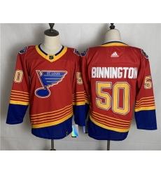 Blues 50 Jordan Binnington Red 2020 21 Reverse Retro Adidas Jersey