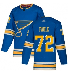 Blues 72 Justin Faulk Blue Alternate Authentic Stitched Hockey Jersey