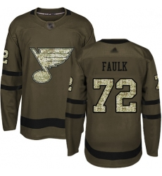 Blues 72 Justin Faulk Green Salute to Service Stitched Hockey Jersey