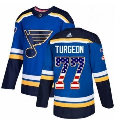 Mens Adidas St Louis Blues 77 Pierre Turgeon Authentic Blue USA Flag Fashion NHL Jersey