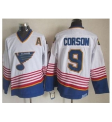 St. Louis Blues #9 Shayne Corson White Light Blue CCM Throwback Stitched NHL Jersey