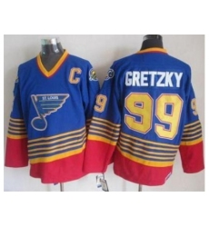 St. Louis Blues #99 Wayne Gretzky Light Blue Red CCM Throwback Stitched NHL Jersey