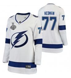 Women Adidas Tampa Bay Lightning 77 Victor Hedman Premier White Home NHL Jersey