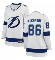 Women Adidas Tampa Bay Lightning 86 Nikita Kucherov Authentic White Home NHL Jersey